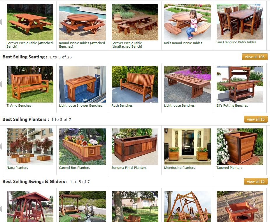Forever Redwood Gallery Exhibiting Multiple Outdoor Furniture
